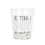 Wedding Shot Glass (He Took A Shot She Said Yes) 2 Ounce by Our Name Is Mud from Enesco