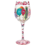 It's My Birthday Hand Painted Artisan Wine Glass 15 Ounce by Lolita from Enesco