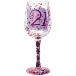 21st Birthday Pearl Accents Wine Glass by Lolita from Enesco