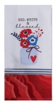 Patriotic Red White & Blessed Floral Vase Bouquet Dual Purpose Cotton Dish Terry Towel 16x26 from Kay Dee Designs