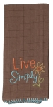 Tuscan Elegance Live Simply Embroidered Cotton Kitchen Dish Tea Towel from Kay Dee Designs