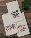 Set of 6 Simple Life Waffle Dish Towels (Cabin Rules & Campfire & Lodge Time) from Kay Dee Designs