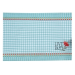 Live Happy Embroidered Gingham Checkered Cotton Placemat 13x19 from Kay Dee Designs