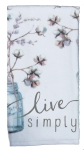 Handmade Floral Mason Jar Design Live Simply Cotton Dish Terry Towel 16x26 from Kay Dee Designs