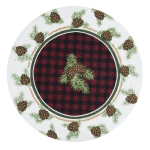 Woodland Braided Buffalo Check & Pinecone Cotton Placemat 14.5 Inch from Kay Dee Designs