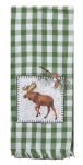 Pinecone Trails Green & White Check Moose Applique Cotton Kitchen Dish Tea Towel 18x28 from Kay Dee Designs