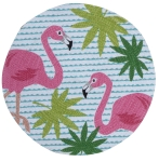 Flamingo Themed Cotton Braided Round Table Placemat 14.5 Inch from Kay Dee Designs