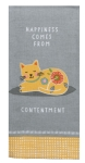 Cat Lover Happiness Comes From Contentment Cotton Dish Tea Towel 18x28 from Kay Dee Designs