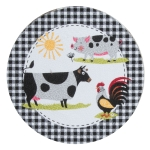 Farm Charm Cow Pig Rooster Cotton Braided Placemat 14.5 Inch Round from Kay Dee Designs