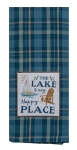 Blue & Green Plaid The Lake Is My Happy Place Cotton Dish Tea Towel 18x28 from Kay Dee Designs