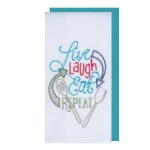Live Laugh Eat Repeat Embroidered Cotton Flour Sack Dish Towel & Solid Color Waffle Towel Set from Kay Dee Designs