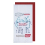 Family Means Everything Embroidered Flour Sack Dish Towel & Solid Waffle Towel Set from Kay Dee Designs