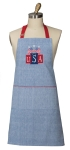USA Flags Patriotic Embroidered Applique Cotton Chef Apron 26x34 from Kay Dee Designs