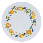 Zest Of Happy Watercolor Lemon Wreath Braided Cotton Placemat 14.5 Inch from Kay Dee Designs