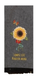 Sunflower Accent Black & White Buffalo Check Cotton Applique Dish Tea Towel 18x28 from Kay Dee Designs