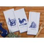 Set of 6 Blue & White Farm House Themed Flour Sack Towels (Rooster & Honey Bees & Watering Plant) from Kay Dee Designs