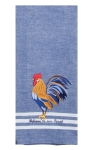 Blue Rooster Themed Embroidered Cotton Kitchen Dish Tea Towel 18x28 from Kay Dee Designs
