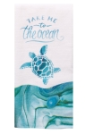 Coastal Tranquility Ocean Turtle Design Cotton Dual Purpose Terry Dish Towel 16x26 from Kay Dee Designs