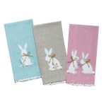 Set of 6 Bunny Rabbit Print Farmhouse Easter Tea Towels 18x28 from Kay Dee Designs