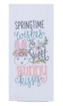 Springtime Wishes & Sweet Bunny Kisses Embroidered Cotton Kitchen Dish Flour Sack Towel 26x26 from Kay Dee Designs