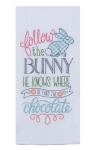 Follow the Bunny To Find The Chocolate Embroidered Cotton Kitchen Dish Flour Sack Towel 26x26 from Kay Dee Designs