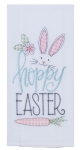 Hoppy Easter Bunny Rabbit & Carrot Embroidered Cotton Kitchen Dish Flour Sack Towel 26x26 from Kay Dee Designs