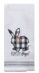Farmhouse Easter Bunny Rabbit Hippity Hop Embroidered Cotton Kitchen Dish Tea Towel 18x28 from Kay Dee Designs