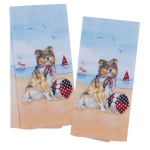 Set of 2 Patriotic Beach Collie Dog Kitchen Dish Towel Set from Kay Dee Designs