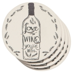 Set of 4 Love The Wine Your With Super Aborbent Ceramic Drink Coasters from Now Designs
