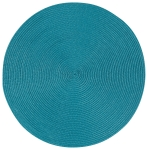 Peacock Blue Round Woven Table Placemat 15 Inch from Now Designs