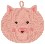 Pink Penny Pig Cotton Crochet Trivet from Now Designs
