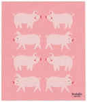Pink Pig Print Design Ecologie Swedish Sponge Towel 11.75 Inch x 10 Inch from Now Designs