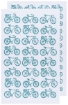 Peacock Blue Bicycle Print Design Cotton Floursack Dish Towel Set of 2 from Now Designs