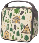 Wild & Free Bear Cabin & Pine Tree Design Cotton Canvas Lunch Bag from Now Designs