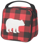 Red & Black Buffalo Check Bear Silhouette Cotton Canvas Insulated Lunch Bag from Now Designs