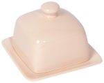 Peach Colored Square Stoneware Butter Dish 4.5 Inch from Now Designs