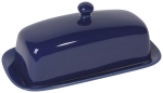 Navy Blue Rectangular Stoneware Butter Dish 8 Inch from Now Designs