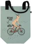 Wild Riders Deer On Bicycle Cotton Studio Tote Bag from Now Designs