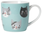 Cat Lover Teal Cat Face Print Design Porcelain Coffee Mug 12 Oz from Now Designs