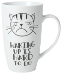 Sad Cat Face Waking Up Is Hard To Do 20 oz Porcelain Coffee Mug from Now Designs