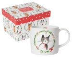 Cat Lover Holiday Wreath Jingle Cat Stoneware Coffee Mug in a Box 14 oz from Now Designs