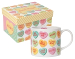 Candy Hearts Design Stoneware Coffee Mug in a Box 14 oz from Now Designs