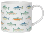Gone Fishin Fish Print Design Stoneware Coffee Mug in a Box 14 oz from Now Designs