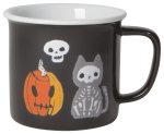 Halloween Themed Pumpkin Cat & Skull Stoneware Coffee Mug 14 oz from Now Designs