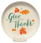 Autumn Harvest Fall Leaves Design Give Thanks Stoneware Spoon Rest from Now Designs