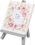 Floral Wreath Design Teach Praise Inspire Decorative Easel Sign 7.75 Inch from Primitives by Kathy