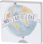 World's Greatest Dad Watercolor Art Decorative Box Sign 6x6 from Primitives by Kathy