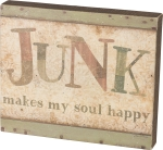 Junk Makes My Soul Happy Decorative Wooden Box Sign 12x10 from Primitives by Kathy