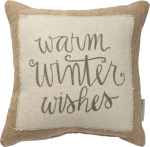 Warm Winter Wishes Cotton & Jute Throw Pillow 12x12 from Primitives by Kathy