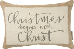 Rustic Christmas Begins With Christ Cotton & Jute Throw Pillow 15x10 from Primitives by Kathy